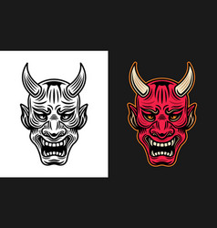 japanese samurai mask in two styles vector image