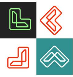 Letter l outline logo template icon elements vector