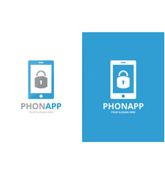 lock and phone logo combination safe and vector image