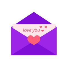 love letter flat design isolated on white vector image