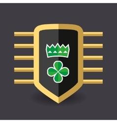 Magic shield crown and a quatrefoil clover vector