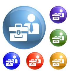 man bribery money bag icons set vector image