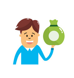 Man with bag cash money in the hand vector