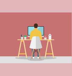 man working on computer in modern style workplace vector image
