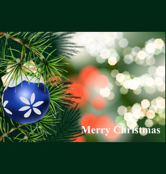 merry christmas card with fir branch and christmas vector image