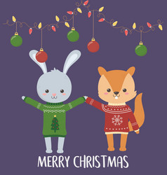 merry christmas celebration cute rabbit and vector image