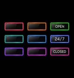 open 24 7 closed neon sign color electric square vector image