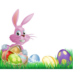 pink easter eggs bunny vector image