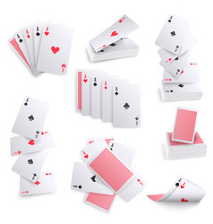 Playing cards realistic sets vector