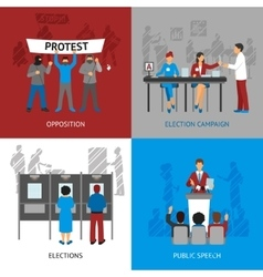 Politics Concept Icons Set vector
