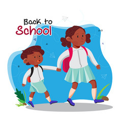 Poster back to school with children vector