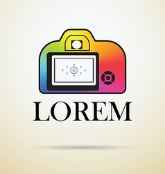 Professional photocamera icon filled with color vector image