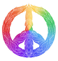 rainbow sign of peace with a boho pattern vector image