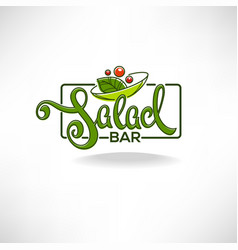 Salad bar logo emblem and symbol lettering vector