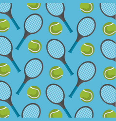 seamless pattern tennis ball and racket desing vector image