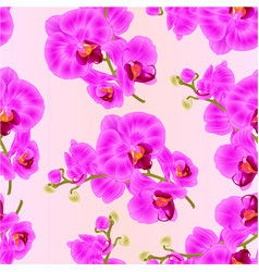 Seamless texture branch orchids purple tropical vector