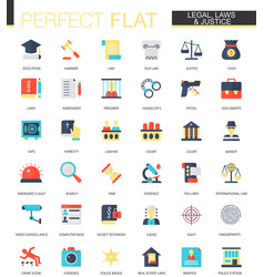 Set flat law legal and justice icons vector