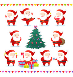 set of cute and funny santas vector image