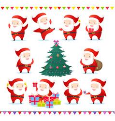 set of cute and funny santas vector image