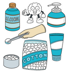 set of forcep alcohol and sterile cotton vector image