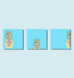 set square cards with paper pineapple cut vector image