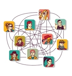 Social network people connection color avatars vector image