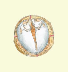 Streaming short mackerel in a basket hand drawn vector