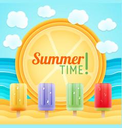 Summer beach sand sea fruit ice holiday tour vector