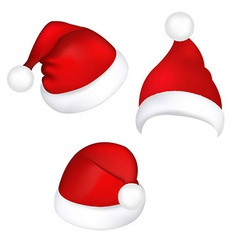 Three santa hats vector