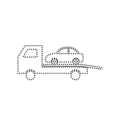 tow car evacuation sign black dotted icon vector image