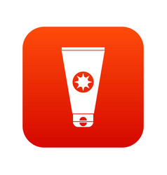 Tube with sunbathing cream icon digital red vector