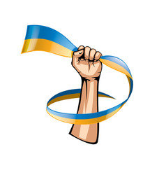 Ukraine flag and hand on white background vector