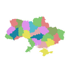 ukraine with regions on white background flat vector image