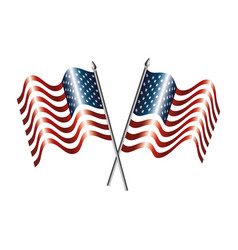 united states america flags crossed vector image