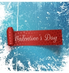 Valentines Day red Scroll Label with Text vector