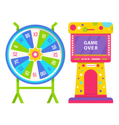 Wheel fortune and slot machine with game over vector