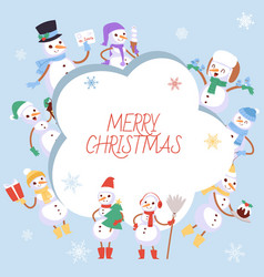 winter holidays snowman vector image