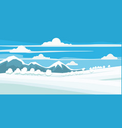 Winter landscape field in the snow mountains vector