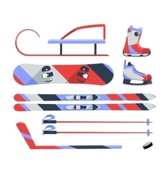 Winter sports objects equipment collection vector