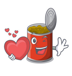 With heart canned food on the table cartoon vector