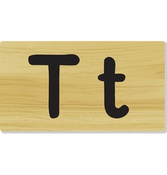 Wooden letter T vector