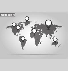 world map with pointers to different countries vector image