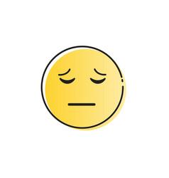 yellow cartoon face sad negative people emotion vector image