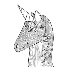 zen tangle and doodle unicorn zentangle animal vector image