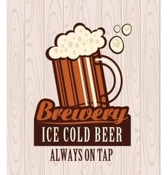 Beer on wooden boards vector