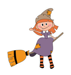 Befana sitting on a broomstick ugly witch vector