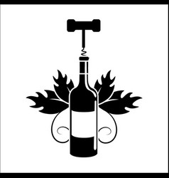 bottle of wine with take out cork icon vector image vector image