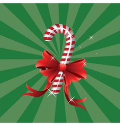 Christmas candy cane with bow vector image vector image