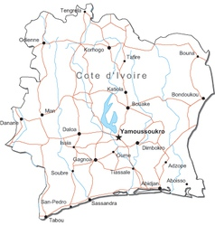 Cote dIvoire Black White Map vector image vector image