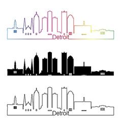 Detroit skyline linear style with rainbow vector
